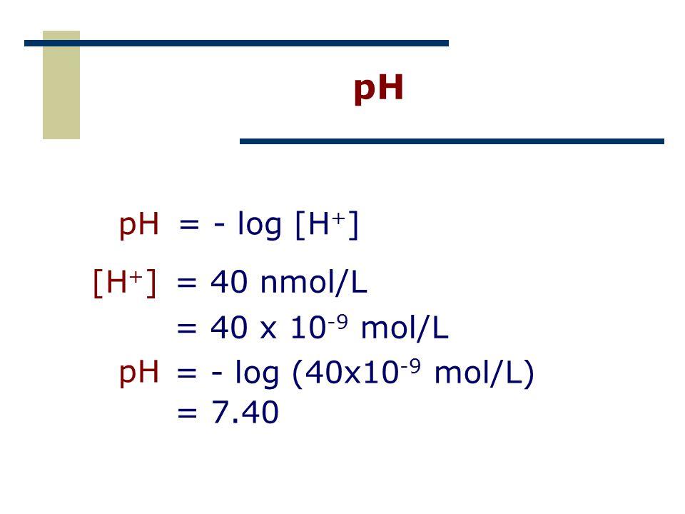 pH pH = - log [H+] [H+] = 40 nmol/L = 40 x 10-9 mol/L